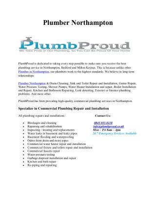Plumber Northampton