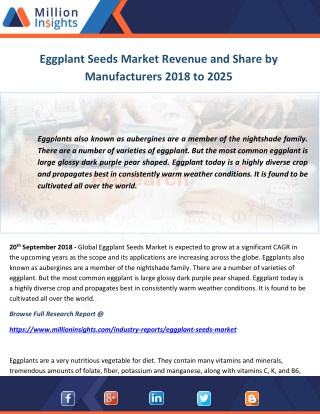 Eggplant Seeds Market Revenue and Share by Manufacturers 2018 to 2025