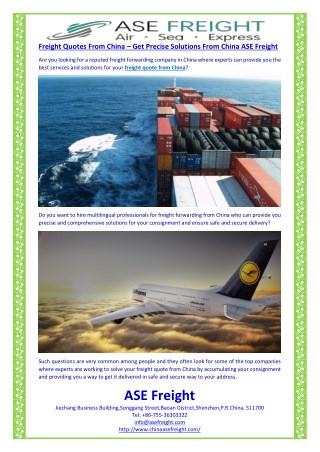 Freight Quotes From China – Get Precise Solutions From China ASE Freight