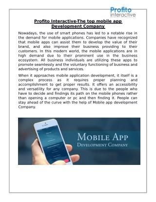 Profito Interactive-The top mobile app Development Company