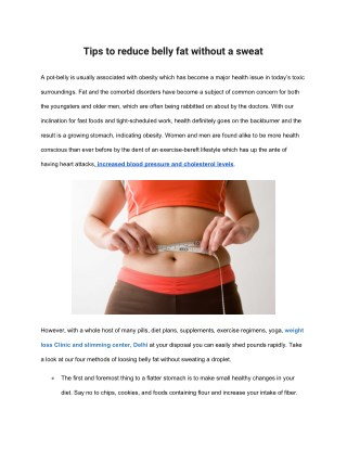 Tips to reduce belly fat without a sweat