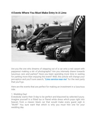 4-events where you must make entry in a limo