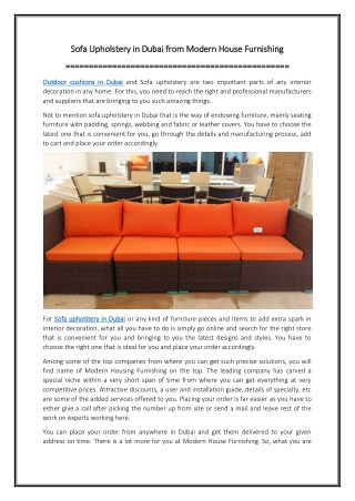 Sofa Upholstery in Dubai from Modern House Furnishing