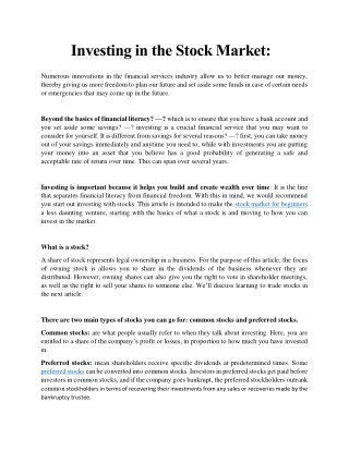 An Article About Investing In Stock Market