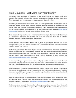 Free Coupons - Get More For Your Money