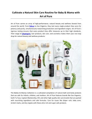 Cultivate a Natural Skin Care Routine for Baby & Mama with Art of Pure