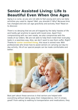 Senior Assisted Living: Life Is Beautiful Even When One Ages