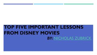 Important Lessons from Movies by Nicholas Zubrick