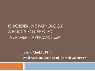 Is BORDERLINE PATHOLOGY  a FOCUS FOR SPECIFIC  TREATMENT APPROACHES?