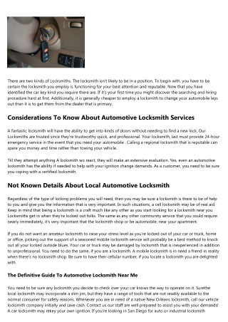 About Automotive Locksmith
