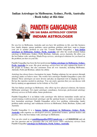 Indian Astrologer in Melbourne, Sydney, Perth, Australia - Book today at this time