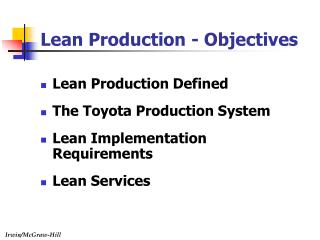 Lean Production Defined The Toyota Production System Lean Implementation Requirements Lean Services