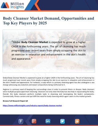 Body Cleanser Market Demand, Opportunities and Top Key Players by 2025