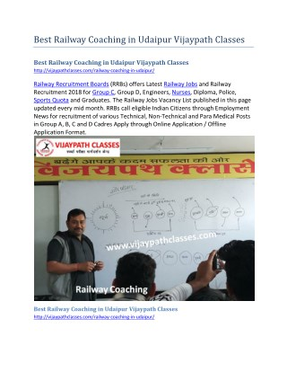 Best Railway Coaching in Udaipur Vijaypath Classes