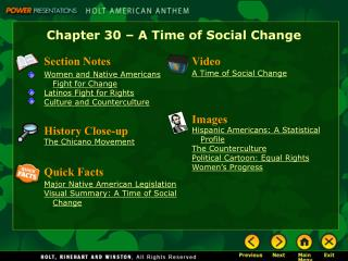 Chapter 30 – A Time of Social Change