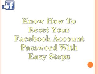 Easy Step for Reset Your Facebook Account Password