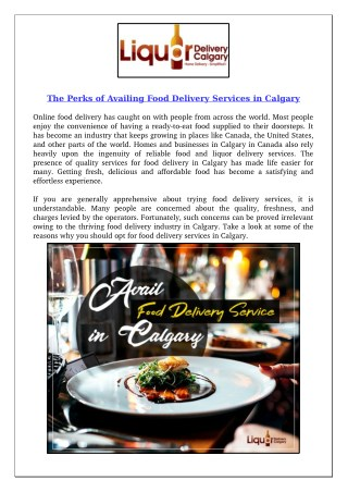 The Perks of Availing Food Delivery Services in Calgary