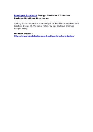 Boutique Brochure Design Services - Creative Fashion Boutique Brochures