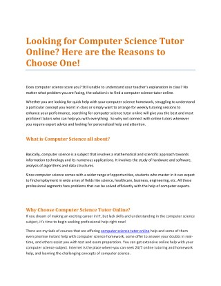 Looking for Computer Science Tutor Online