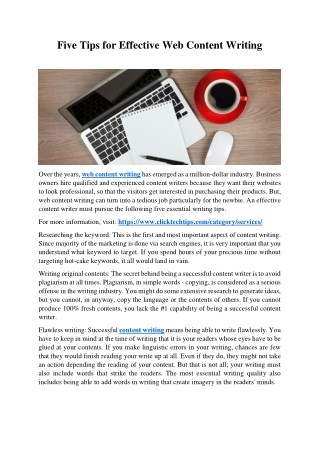 Five Tips for Effective Web Content Writing