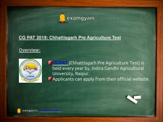 CG PAT 2019: Application Form, Admission Details, Important Dates, Pattern, Hall Ticket