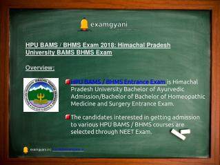 HPU BAMS / BHMS Exam 2018: Admission, Exam Dates, Result