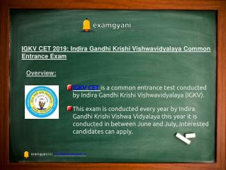 IGKV CET 2018: Application Form, Eligibility criteria, Syllabus, Result
