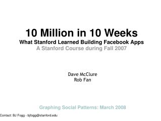 Ten Million in Ten Weeks: What Stanford Learned Building Fac