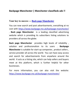 Backpage Manchester   Manchester classifieds ads !!