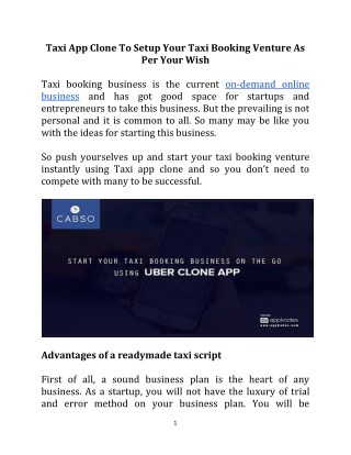 Start Your Taxi Booking Business On The Go Using Uber Clone App