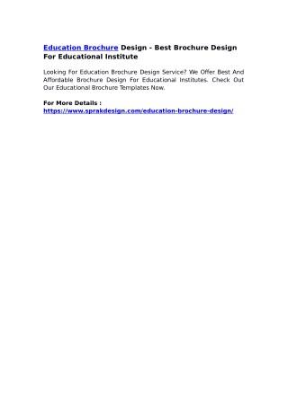 Education Brochure Design - Best Brochure Design For Educational Institute