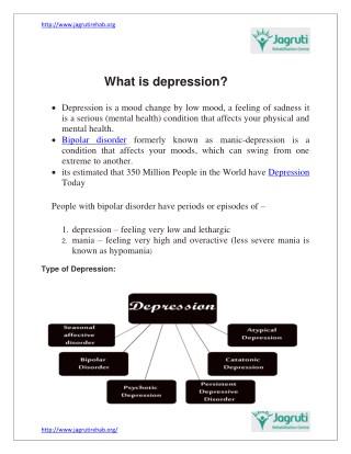 What is depression | Jagruti Rehab centre in mumbai