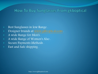 How to Buy Sunglasses from gkboptical
