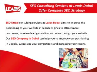 SEO Consulting Services at Leads Dubai Offer Complete SEO Strategy