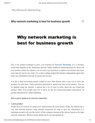 Why network marketing is best for business growth