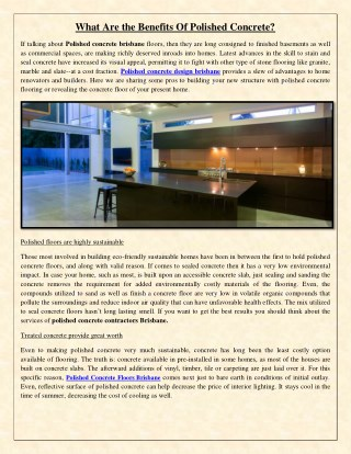 What Are the Benefits Of Polished Concrete?