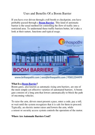 Uses and Benefits Of a Boom Barrier