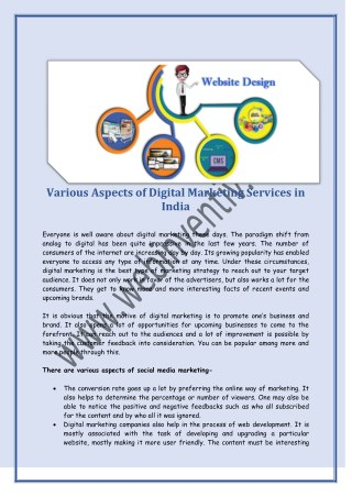 Various Aspects of Digital Marketing Services in India