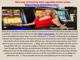 New way of learning extra regarding online casino