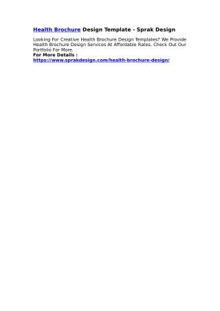 Health Brochure Design Template - Sprak Design