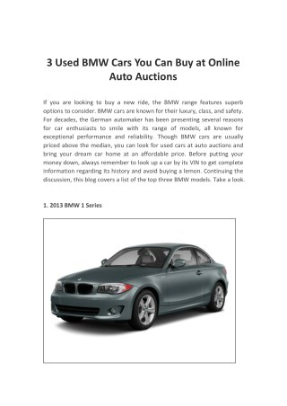 3 Used BMW Cars You Can Buy at Online Auto Auctions