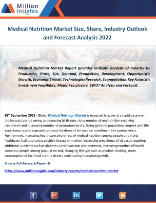 Medical Nutrition Market Size, Share, Industry Outlook and Forecast Analysis 2022