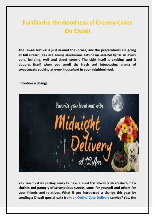 Familiarize the Goodness of Creamy Cakes On Diwali