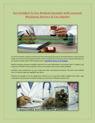 Get Certified To Use Medical Cannabis with Licensed Marijuana Doctors In Los Angeles