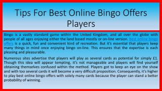 Tips For Best Online Bingo Offers Players