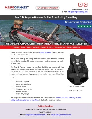 Buy Zhik Trapeze Harness Online from Sailing Chandlery