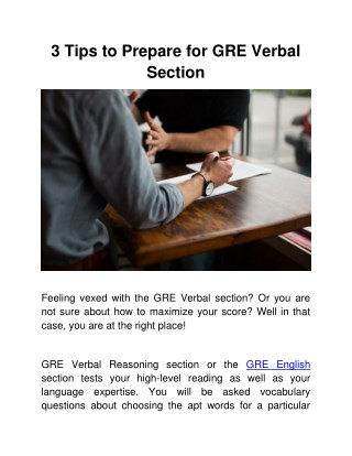 3 Tips to Prepare for GRE Verbal Section