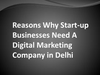 Reasons Why Start-up Businesses Need A Digital Marketing Company in Delhi