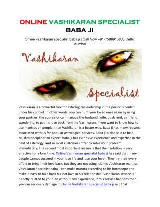 Online vashikaran specialist baba ji | Call Now 91-7508915833 Delhi, Mumbai
