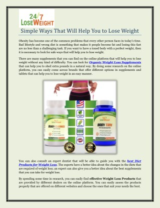 Simple Ways That Will Help You to Lose Weight